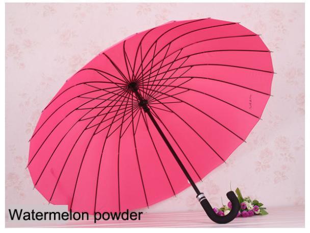 Free shipping, straight rod umbrella, hook, handle large windproof umbrella, 24 frame umbrella(China (Mainland))