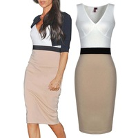 2014 Women's Clothing Sexy Sleeveless V-neck Dress Contrast Panel Slim Bodycon Midi Party Dresses