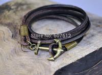 Handmade Charm 3-Wrap Brown  Genuine Leather&Hemp Braided Bracelet Wristband Men's Cuff  With Multi Wrap Anchor Clasp