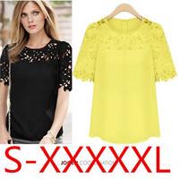 Hot blusas femininas 2014 Plus size Clothing  Yarn Empty Thread Short-sleeve Chiffon blouse Tops Lace women blouse S-5XL