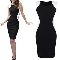 2014 Women's Sexy Clothing Sleeveless Round-neck Dresses Contrast Slim Bodycon Mini Dress Black