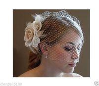 2014 Hot sale design Ivory Blusher Birdcage Veil the Champagne Flower