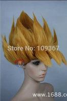 Super Saiyan COS New Short Blonde Cosplay First explosion Wigs Natural Kanekalon Fiber no lace Hair full Wigs