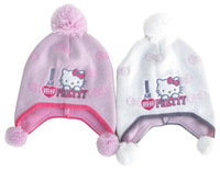 (5 Pcs/Lot) New Cute Embroidery Hello Kitty Winter Warm Knitting 3~8 Years Children's Bomber Hats