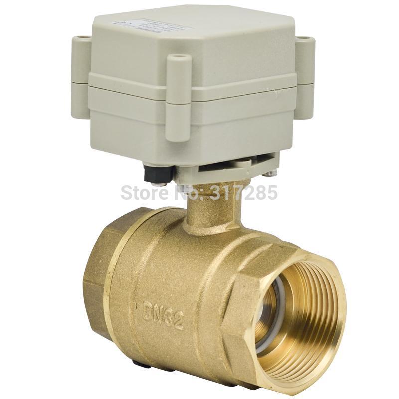 DN32 1 1/4'' 2Way DC12V/24V motorized actuator brass ball electric valve(China (Mainland))