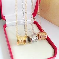 Luxury Italy brand logo bijoux jewelry crystal rhinestone pendant necklace titanium steel short chain chocker necklace men women