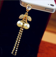 OL Designs Classic And Cute Imitate Pearl Cherry Cell Phone Dustproof Plug Crystal Chains Dust Plug SP050