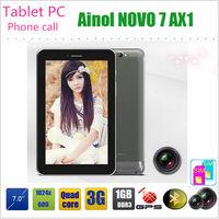 7 inch Ainol novo 7 AX1 3G Phone Call Tablet PC MTK8389 quad core 1GB 8GB ROM Dual SIM Dual Cameras 5.0MP GPS HDMI OTG BLUETOOH