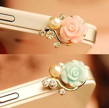 Romantic Pearl Roses Dustproof Plug Mobile Phone Dust Plug Sweet Girls Phone Pendants SP044(China (Mainland))