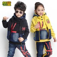 Anti season sale Xi Tong 2014 new children children winter thick warm cowboy three piece suit for girls
