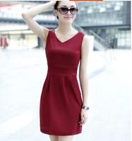 New 2014 Women Summer Dress Korean Fashion Women Milk Silk Solid Color  Sleeveless Round Neck  Fit Slim Dress Free Shipping 853