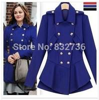 Winter Europe Star  Gossip Girl Style Women Dress adornment Slim Double breasted Wool Coat Women's Woolen jackets blue black red