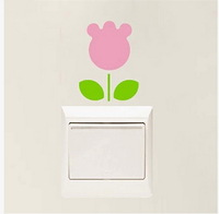 4pcs creative switch stickers,pink flower bedroom parlor wall stickers Free shipping