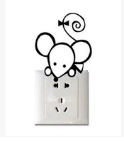 4pcs Creative Switch Stickers,Cute little mouse Bedroom Parlor Wall Stickers Free Shipping