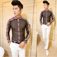 polo new 2014 mens clothing see through sexy male dress shirts slim fit man lace designer mens floral shirt,white black,M-XXL
