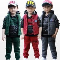 Children's children 2014 baby boys and girls winter sweater suit. In autumn three piece set thickening