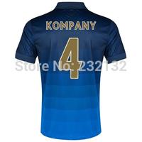 Top Quality 14/15 Manchester City #4 Vincent Kompany Away Jerseys Dark Blue shirt 2014/2015 Cheap Soccer Uniforms Football kit