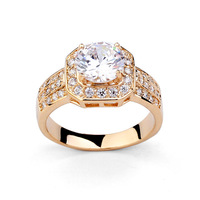 High Quality Clearl Crystal Promotion Fasion 18 K Gold Plated Imitation Diamond Rings
