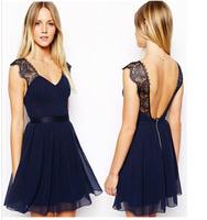 New 2014 Summer Women dress Celebrity Brand Fashion Work Wear Sexy Party Lace dress Blue Backless Chiffon Casual Dress