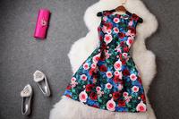 2014 New Casual Sleeveless Brand Women Dress Vintage Luxurious Print Rose Dress Jacquard Elegant Evening Dresses Hot Sale T2018