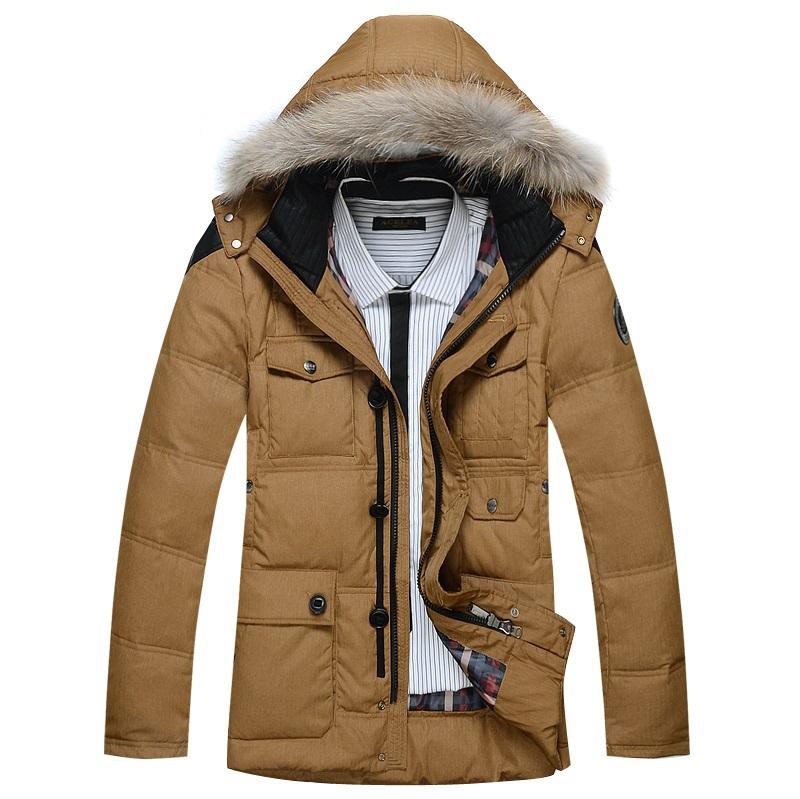 Doudoune à capuche hommes 2014 90% duvet de canard pardessus d'hiver de taille plus outwear manteau d'hiver livraison gratuite gros et de détail