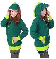 Animal Cute Green Dinosaur Hoody Cartoon Animal Hoodie with Ears Hooded Hoody Coat Jacket Warm Polar Fleece,All Size S M L XL