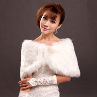 The bride wedding wrap formal dress faux white red bridesmaid wedding plush thermal autumn and winter A561#