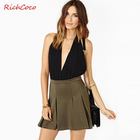 Richcoco chiffon lacing racerback V-neck sleeveless halter-neck vest jumpsuit d208