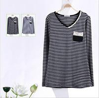 Free Shipping Females' V-neck Long T-shirt Fashion Trendy Striped T-shirt Women Cotton Clothes Tops Tees T-shirt