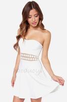 HIGH QUALITY!  white lace hollow out strapless chiffon women's dress girl fashion dress XS-XXL,141516294