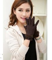 Free shipping  2014 Fashion Women's Electronic Wrist length Wool velvet rabbit fur autumn and winter Gloves full finger Gloves