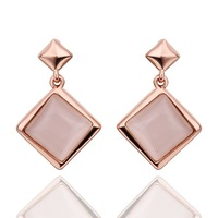 Luxury Lady's Square Moonstone Real Gold Plated Earrings Drop Dangle