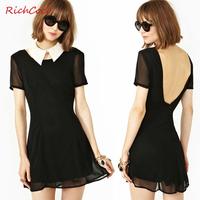 Richcoco fashion slim deep V-neck racerback short-sleeve o-neck solid color chiffon one-piece dress d126