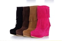 New Arrived Round Toe Wedge platform  high heels Slip-On Tassel Faux suede boots pumps shoes black/pink/brown/yellow size 35-39