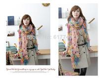 2014 hot  Fashion Women's Girl's Cotton Linen Rural Flower Beauty Long Silk Scarf Shawl  style silk scarf polka velvet scarf set