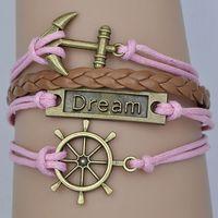 Hot sale 2014 NEW fashion blue white or pink brown Vintage rope rudder anchor  leather bracelet charm bracelet of dream