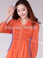 Women Blouses Big yards chiffon unlined upper garment bud silk long sleeves