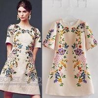 2014 brand new Autumn womens ladies Fashion Runway Short Sleeve Crinkling Positioning Casual FLORAL Printed Jacquard Dress