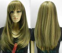 Stylish Straight long Brown mix Women wig