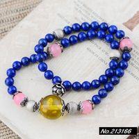 925 pure silver jewelry  Natural lapis lazuli. 6mm. Amber bracelet female models xh035790w