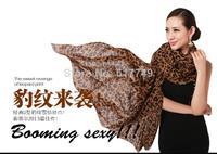 2014NEW Fashion Women classic Autumn and winter large female leopard print quality chiffon silk scarf ultra long cape scarf dual
