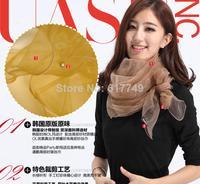 silk scarf!!!2014 Lady Women Fashion Stylish Soft Silk solid color scarf  autumn and winter womens silk scarf set silk Pashmina