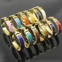 Luxury Brand Female Enamel Colored Bracelet 316l Titanium Stainless Steel 18k Yellow Gold Bangle Hand Wrist Bracelet Women Bijou