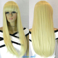 Charming Long Straight Light Blonde Straight bangs Women Wig