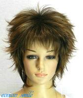 Exquisite Straight Short Dark brown fluffy Women Wig
