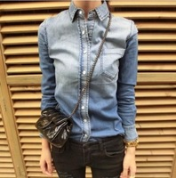 2014 Fashion Women's Gradient Color Slim Denim Shirt Female Long-sleeve Shirt Jeans Blouse Tops Outerwear CS4477