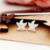 1 pair Free shipping Fashion Bijou Elegant Rhinestone Starfish earrings for women E207