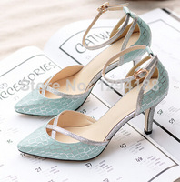 Free shipping women's 8.5cm high heel belt with rivets pumps the wedding summer shoes