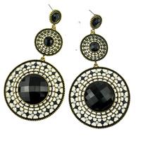 New Designed Black Resin Stone Beaded Round Shape Vintage Retro Bohemian Women Fashion Dangle Earrings Fashion Accessories