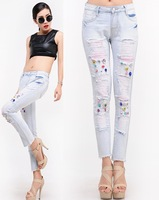 OT Sale!fashion Light Blue Color Woman Tight Pencil Jeans Skinnyh Pants Mid waist Trousers Sexy Brand Women Jeans For Thin Women